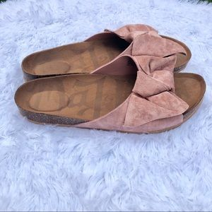 Mad Love Shoes - MAD LOVE Pink Suede Look Slides w/Bow. EUC.